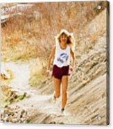 Blond Woman Trail Runner Acrylic Print