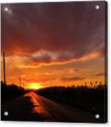 Blood And Gold In The Road Sunset At Portmahon Delaware Acrylic Print
