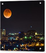 Blood Moon Over Downtown Acrylic Print