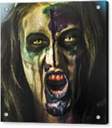 Bloody Zombie Nurse Screaming Out In Insanity Acrylic Print