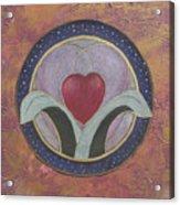 Blooming Heart Mandala Acrylic Print