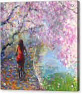Blossom Alley Impressionistic Painting Acrylic Print