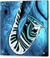 Piano Keys In A Saxophone Blue 2 - Music In Motion Acrylic Print