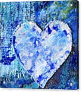 Blue Abstract Painting With Heart Acrylic Print