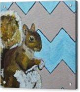 Blue And Beige Chevron Squirrel Acrylic Print