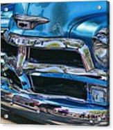 Blue And Chrome Chevy Pickup Front End Acrylic Print