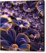 Blue And Gold Fractal Flowers Acrylic Print