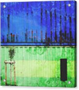 Blue And Green Metallic Shed Acrylic Print