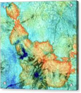 Blue And Orange Abstract - Time Dance - Sharon Cummings Acrylic Print