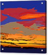 Blue And Red Ocean Sunset Acrylic Print