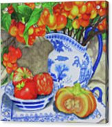 Blue And White Porcelain With Cherries Acrylic Print