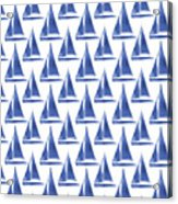 Blue and White Sailboats Pattern- Art by Linda Woods Acrylic Print