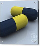 Blue And Yellow Medication Capsules Acrylic Print