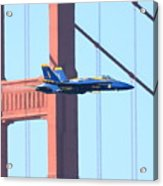 Blue Angels Crossing The Golden Gate Bridge Acrylic Print by Wingsdomain Art and Photography