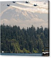 Blue Angels Over Lake Washington Acrylic Print