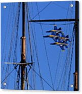 Blue Angels Pass Behind Masts Of The Balclutha At Hyde Street Pier Acrylic Print