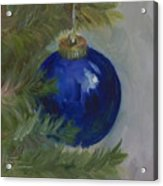 Blue Ball On Christmas Tree Acrylic Print