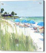 Blue Beach Umbrellas, Crescent Beach, Siesta Key - Wide Acrylic Print