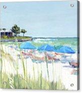 Blue Beach Umbrellas On Point Of Rocks, Crescent Beach, Siesta Key Wide-narrow Acrylic Print