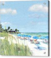 Blue Beach Umbrellas, Point Of Rocks, Crescent Beach, Siesta Key Acrylic Print