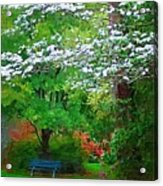 Blue Bench In Park Acrylic Print