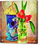 Blue Birdhouse And Red Tulips 2 Acrylic Print