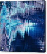 blue blurred abstract background texture with horizontal stripes. glitches, distortion on the screen broadcast digital TV satellite channels Acrylic Print