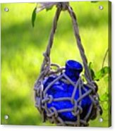Small Blue Bottle Garden Art Acrylic Print