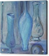 Blue Bottles  Acrylic Print by Michel Croteau