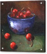 Blue Bowl And Cherries Acrylic Print