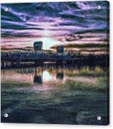 Blue Bridge At Sunset Acrylic Print