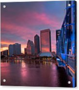 Blue Bridge Red Sky Jacksonville Skyline Acrylic Print
