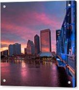 Blue Bridge Red Sky Jacksonville Skyline Acrylic Print by Debra and Dave Vanderlaan