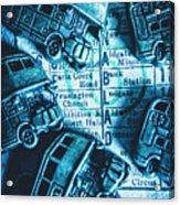 Blue Britain Bus Bill Acrylic Print