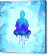 Blue Buddha Watercolor Painting Acrylic Print