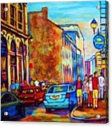 Blue Cars At The Resto Bar Acrylic Print