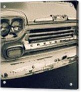 Blue Chevy Truck Grill Bw Acrylic Print