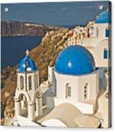 Blue Churches Of Santorini Acrylic Print by Jim Chamberlain