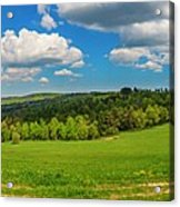 Blue Cloudy Sky Over Green Hills And Country Road Acrylic Print