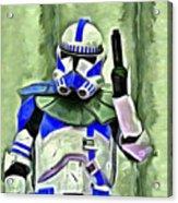 Blue Commander Stormtrooper At Work - Da Acrylic Print