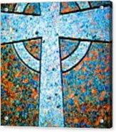 Blue Marbled Cross Acrylic Print
