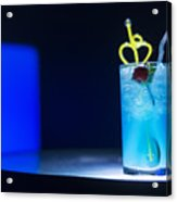 Blue Curacao Cocktail Drink With Cherry Acrylic Print