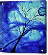 Blue Depth Abstract Original Acrylic Landscape Moon Painting By Megan Duncanson Acrylic Print