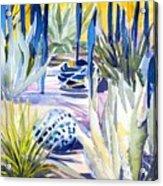 Blue Desert Botanical Desert Phoenix Acrylic Print