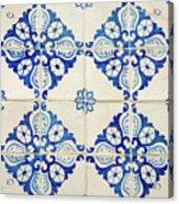 Blue Diamond Flower Tiles Acrylic Print