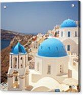 Blue Domed Churches Santorini Acrylic Print