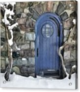 Blue Door In February Acrylic Print
