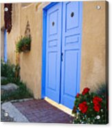Blue Door Of An Adobe Building Taos New Mexico Acrylic Print