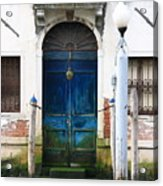 Blue Door on Grand Canal in Venice Acrylic Print