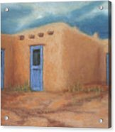 Blue Doors In Taos Acrylic Print by Jerry McElroy